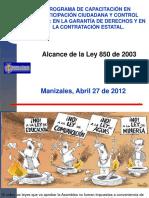 Presentacion Alcance Ley 850 -2012