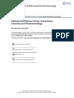 Deleuze and Merleau Ponty Immanence Univocity and Phenomenology