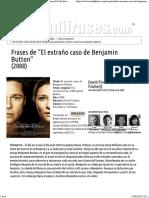 """Frases de """"El Extraño Caso de Benjamin Button"""" (2008)"""