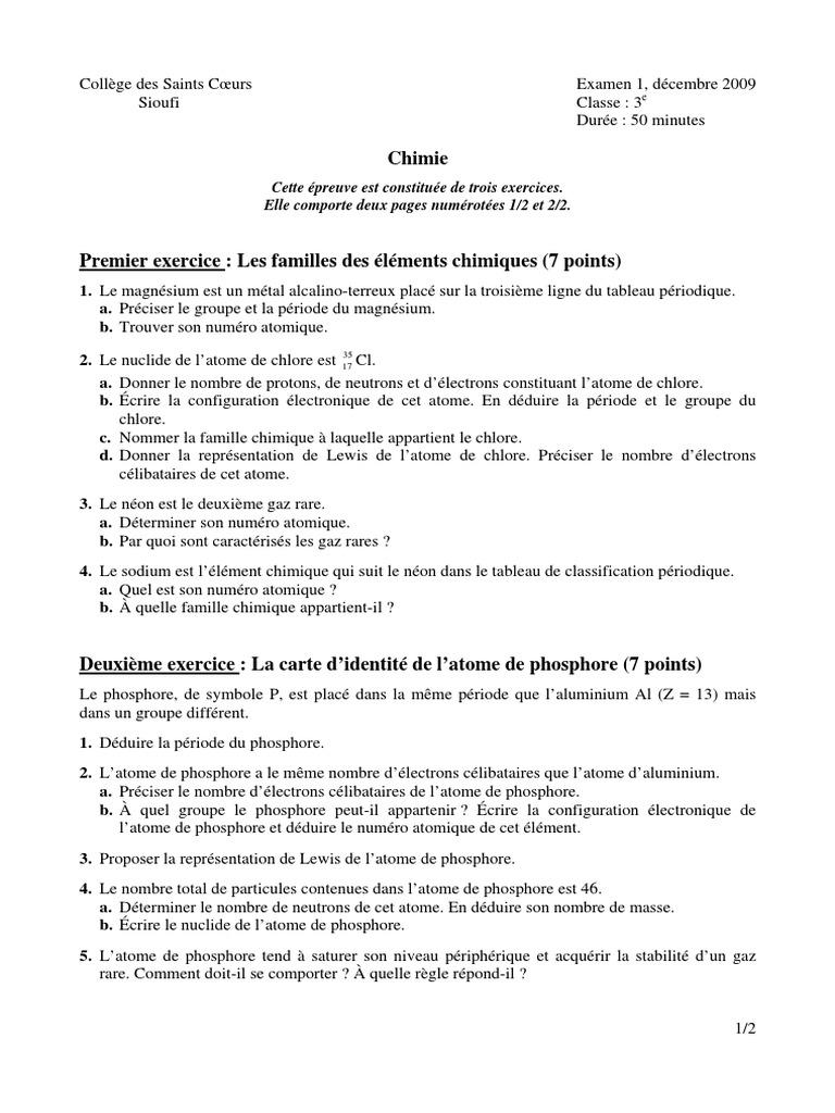Chimie Cette Epreuve Est Constituee De Trois Exercices Elle Comporte Deux Pages Numerotees 1 2 Et 2 2 Atomes Elements Chimiques