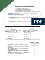 Six Dimension Scale of Nursing Performance