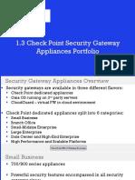 1.3 Check Point Security Gateway Appliances Portfolio