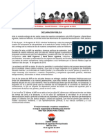Declaración Pública - Comité Central - 15 de Agosto de 2019