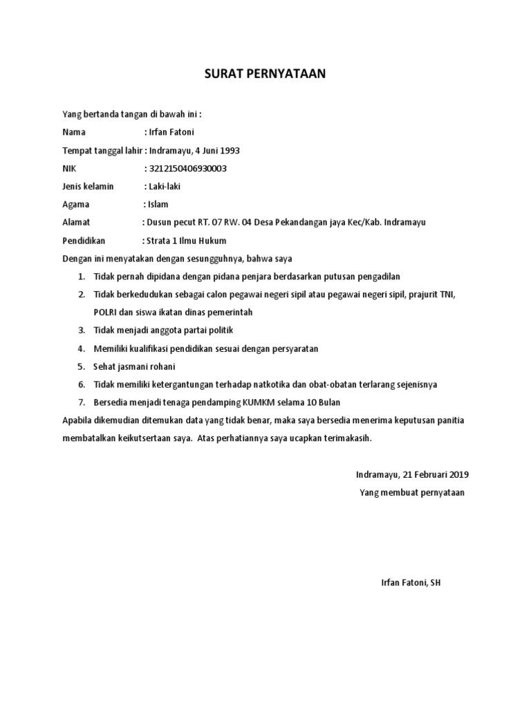 14+ Contoh surat pernyataan ukm bermaterai terbaru yang baik dan benar
