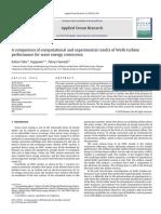 A Comparison of Computational and Experimental Results of Wells Turbine Performance for Wave Energy Conversion - Artigo - Taha.pdf