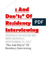 """""""Dos and Don'Ts"""" of Residency Interviewing (1)"""