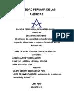 El Principio de Causalidad en La Determinación Del Impuesto a La Renta en La Empresa Cristalería Arte La Rochelli Srl