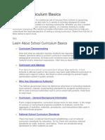School Curriculum Basics