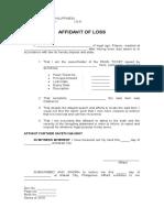 Affidavit of Loss (Pawn Ticket) - Blank