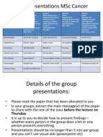 Group Presentations MSc Cancer and Instructions