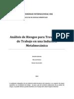 Análisis de Riesgos para Tres Puestos de Trabajo en una Industria Metalmecánica