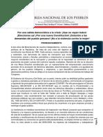 PRONUNCIAMIENTO ANP Y CONVOCATORIA AL II ENCUENTRO NACIONAL DE LA ASAMBLEA NACIONAL DE LOS PUEBLOS