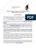 AEGIS 4th European Conference on African Studies 2011 - Call for Papers