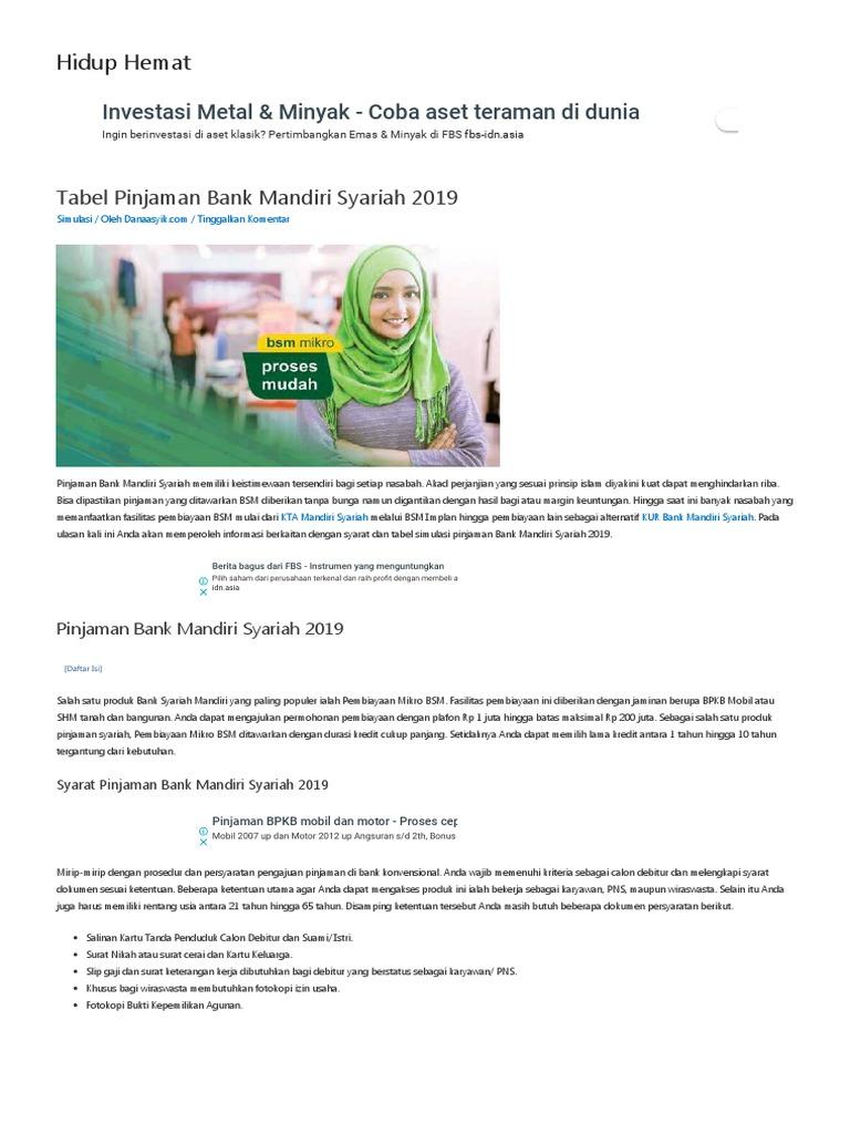 Tabel Pinjaman Bank Mandiri Syariah 2019 Hidup Hemat