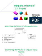 Determining the Volume of 3D Shapes