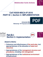 Marie Curie Individual Fellowship Implementation Exemple