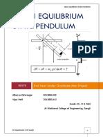 Quasi Equilibrium State Pendulum