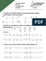 Avaliação de Matemática - Adição Esubtração Frações