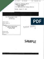 Wayne County 2019 Primary Runoff Election Sample Ballots