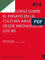 Giordano - El discurso sobre el ensayo en la cultura argentina
