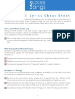 Meaningful Lyrics Cheat Sheet