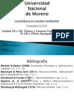 Unidad VII y VIII Dinero y Sistema Financiero - Curvas is y LM y Oferta Agregada