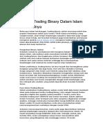Hukum Trading Binary Dalam Islam Dan Dalilnya