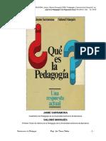 SARRAMONA, Jaime y Salomó (1984) Pedagogía o Ciencias de La Educación