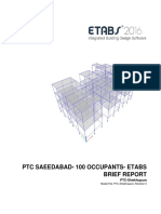 Etabs Brief Report for Ptc Saeedabad- 100 Occupants