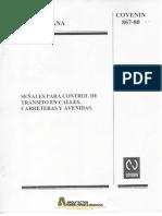 Covenin 0867-1980 Señales Para Control de Transito en Calles, Carreteras y Avenidas