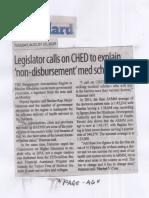 Manila Standard, Aug. 20, 2019, Legislator calls on CHED to explain non-disbursement med scholarship.pdf