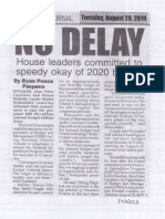 Peoples Journal, Aug. 20, 2019, No Delay House laeders committed to speedy okay of 2020 budget.pdf