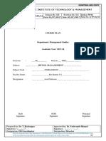 21. Retail Management- Course Plan