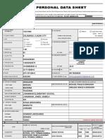 Personal Data Sheet of Shirley