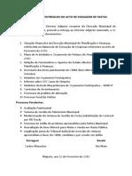 Documentos Entregues No Acto de Passagem de Pastas