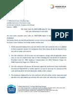 Sub Contractor Letter