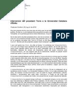 Discurs de Quim Torra a la Universitat Catalana d'Estiu