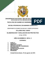 Syllabus de Proyectos - Version 20 de Agosto 2019
