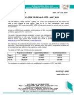Prees Note CTET Result July 2019