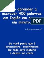 Como Aprender 400 Palavras Em Inglês Em 1 Minuto