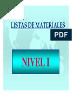 BOM / Listas de Materiales (Nivel 1)