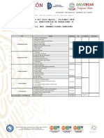 Planeación de Fechass Investigacion de Operaciones II Sabatino