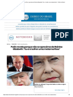"""Putin Revela Porque Não Se Aproxima Da Rainha Elizabeth_ """"Eu a Vi Sofrer Uma Metamorfose"""" – Diário Do Brasil"""