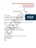 Exemple Attestation Travail