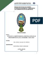 ESTADO DE LA COMPETITIVIDAD EN LA INDUSTRIA LÁCTEA DE LOS DEPARTAMENTOS DE LA PAZ, COCHABAMBA Y SANTA CRUZ