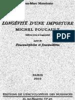 Jm Mandosio Longevite d Une Imposture Michel Foucault