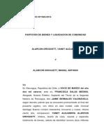 Particion de Bienes y Liquidacion de Comunidad - Yajent Alarcon y Otro - 04-03-2014