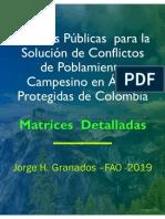 Matriz Recomendaciones  detalladas  Recomendaciones políticas públicas  solución  Ocupación Campesina en áreas protegidas de Colombia. . 06-2019 28-06-2019