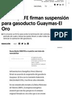 IEnova y CFE firman suspensión para gasoducto Guaymas-El Oro