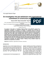 1. an Investigation Into Job Satisfaction A